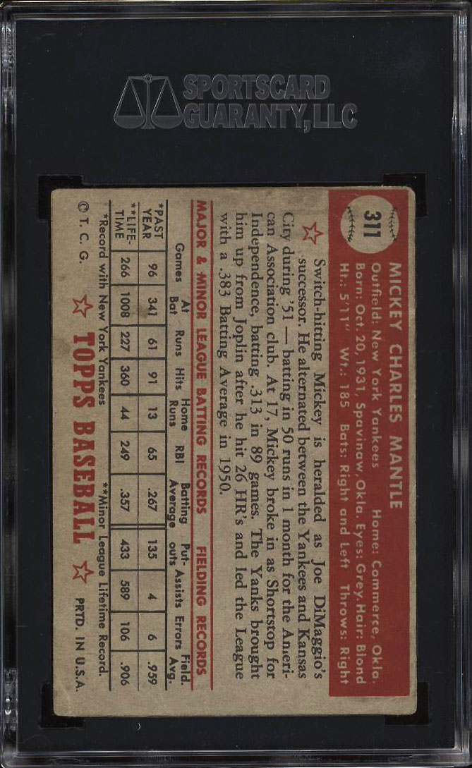 Image 2 of: 1952 Topps Mickey Mantle #311 SGC AUTH (PWCC)
