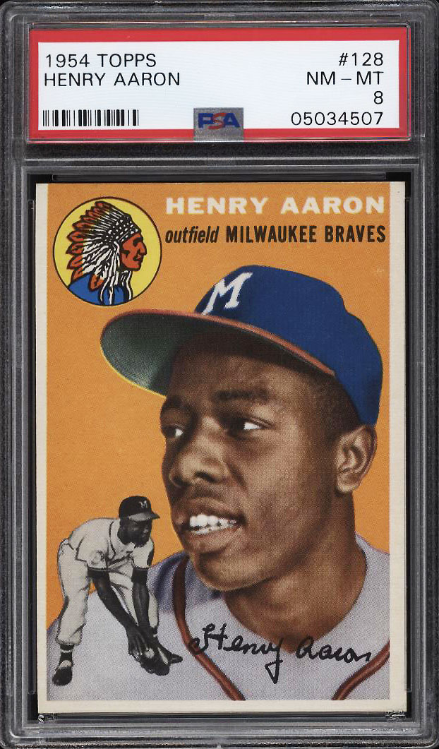 Image 1 of: 1954 Topps Hank Aaron ROOKIE RC #128 PSA 8 NM-MT (PWCC)