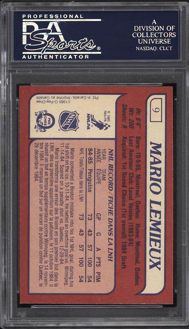 Image 2 of: 1985 O-Pee-Chee Hockey Mario Lemieux ROOKIE RC #9 PSA 10 GEM MINT (PWCC)