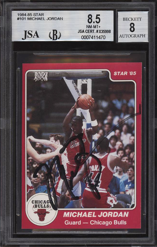 Image 1 of: 1984-85 Star Basketball Michael Jordan ROOKIE RC AUTO #101 JSA BGS 8.5 (PWCC)
