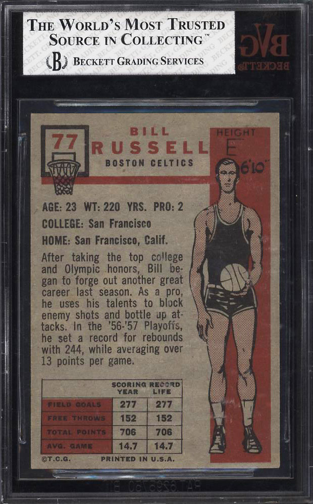 Image 2 of: 1957 Topps Basketball Bill Russell SP ROOKIE RC #77 BVG 7 NRMT (PWCC)
