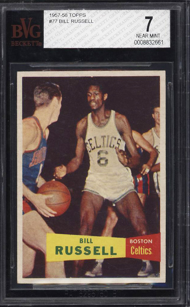 Image 1 of: 1957 Topps Basketball Bill Russell SP ROOKIE RC #77 BVG 7 NRMT (PWCC)