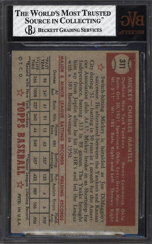 Image 2 of: 1952 Topps Mickey Mantle #311 BVG 4.5 VGEX+ (PWCC)