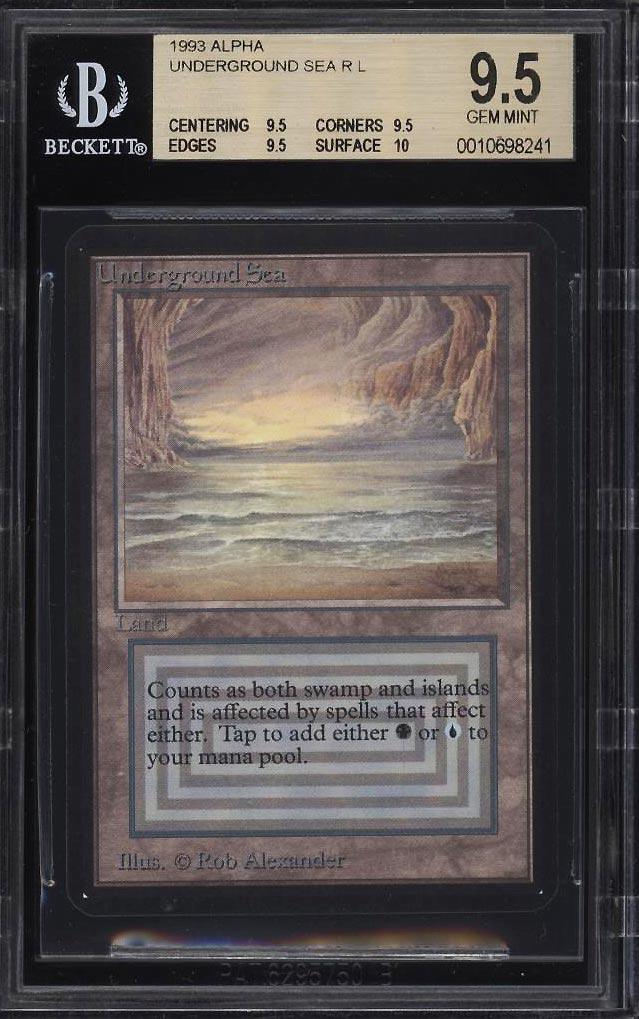 Image 1 of: 1993 Magic The Gathering MTG Alpha Dual Land Underground Sea R L BGS 9.5 (PWCC)