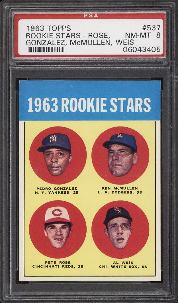 Image 1 of: 1963 Topps Pete Rose ROOKIE RC #537 PSA 8 NM-MT (PWCC-PQ)