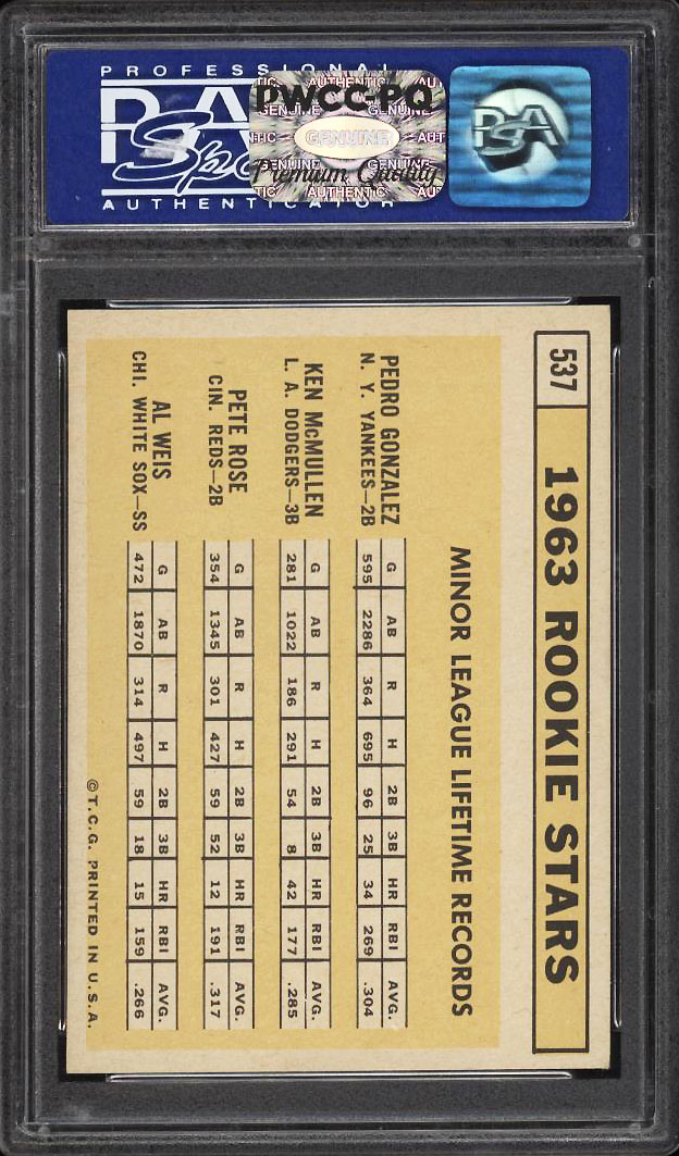 Image 2 of: 1963 Topps Pete Rose ROOKIE RC #537 PSA 8 NM-MT (PWCC-PQ)