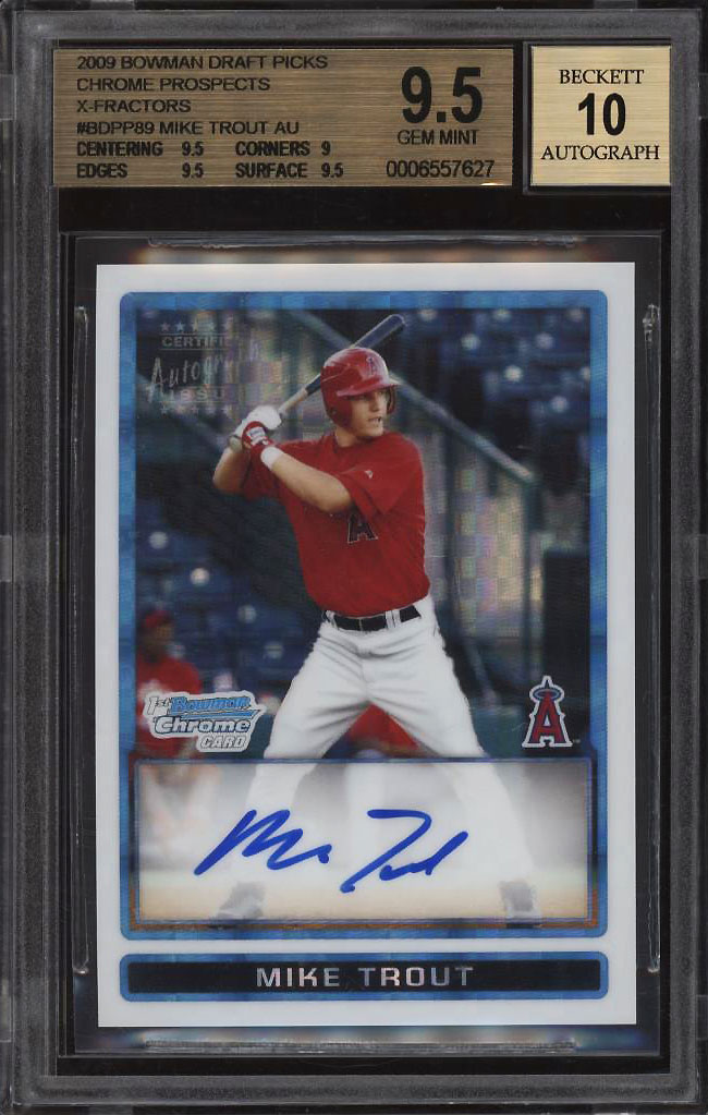 Image 1 of: 2009 Bowman Chrome Xfractor Mike Trout ROOKIE RC AUTO /225 BGS 9.5 GEM MT (PWCC)