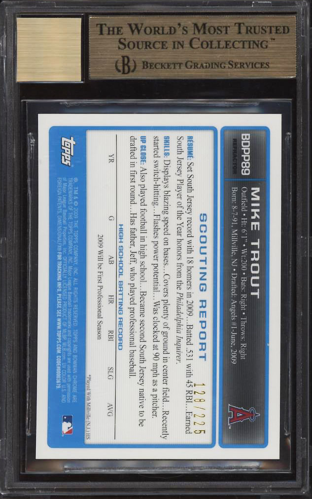 Image 2 of: 2009 Bowman Chrome Xfractor Mike Trout ROOKIE RC AUTO /225 BGS 9.5 GEM MT (PWCC)
