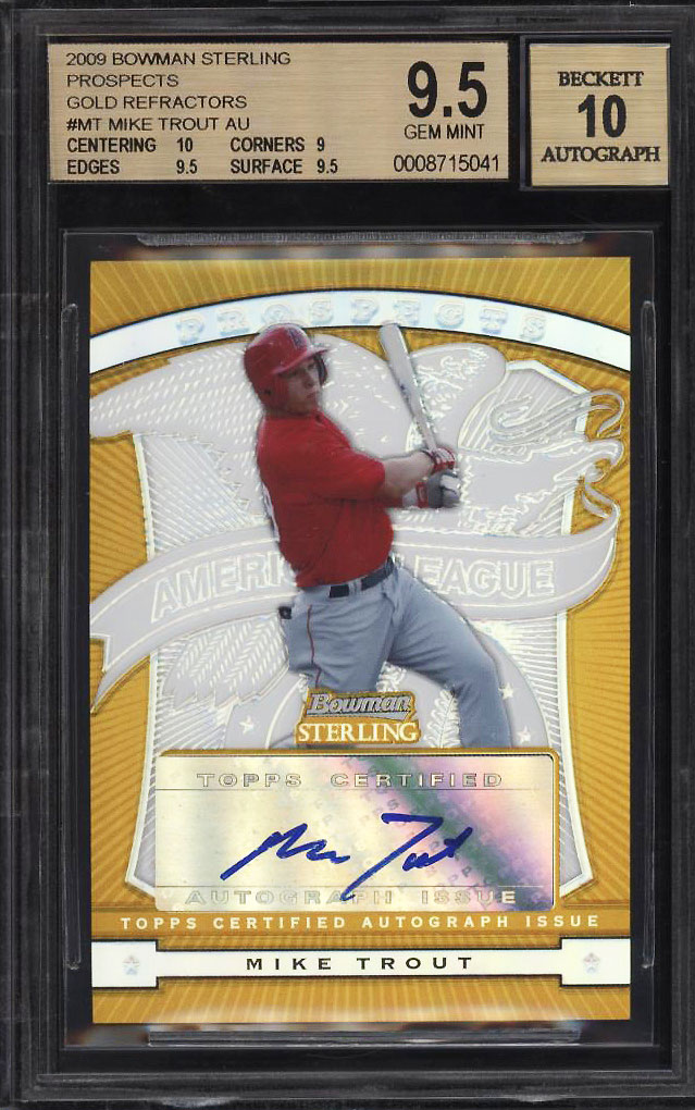 Image 1 of: 2009 Bowman Sterling Gold Refractor Mike Trout ROOKIE RC AUTO /50 BGS 9.5 (PWCC)