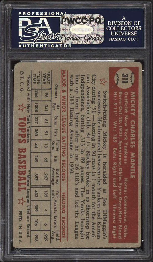 Image 2 of: 1952 Topps Mickey Mantle #311 PSA 2 GD (PWCC-PQ)