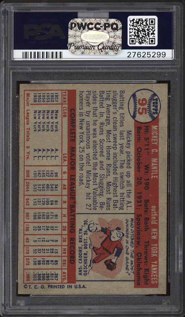 Image 2 of: 1957 Topps Mickey Mantle #95 PSA 8 NM-MT (PWCC-PQ)