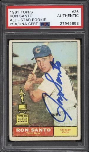 Image of: 1961 Topps Ron Santo ROOKIE RC, PSA/DNA AUTO #35 PSA Auth (PWCC)