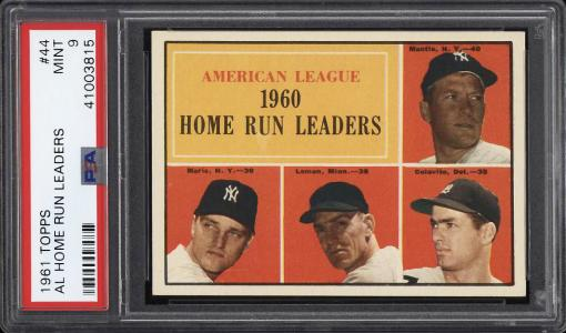 Image of: 1961 Topps Mickey Mantle Roger Maris Colavito AL HR LDRS #44 PSA 9 MINT (PWCC)