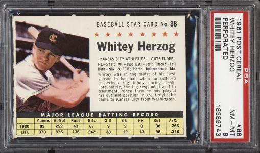 Image of: 1961 Post Cereal Whitey Herzog PERFORATED #88 PSA 8 NM-MT (PWCC)