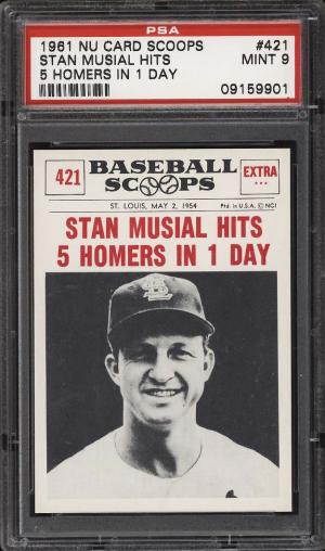Image of: 1961 Nu-Card Scoops Stan Musial HITS 5 HOMERS IN 1 DAY #421 PSA 9 MINT (PWCC)
