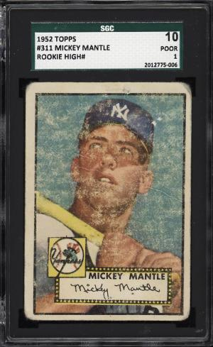 Image of: 1952 Topps Mickey Mantle #311 SGC 10/1 PR (PWCC)