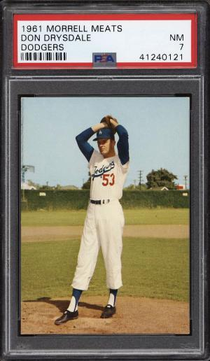 Image of: 1961 Morrell Meats Dodgers Don Drysdale PSA 7 NRMT (PWCC)