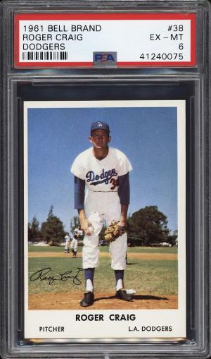Image of: 1961 Bell Brand Dodgers SETBREAK Roger Craig #38 PSA 6 EXMT (PWCC)