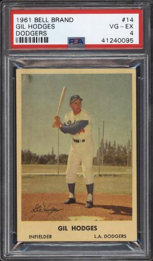 Image of: 1961 Bell Brand Dodgers Gil Hodges #14 PSA 4 VGEX (PWCC)
