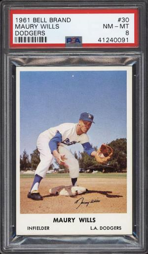 Image of: 1961 Bell Brand Dodgers SETBREAK Maury Wills ROOKIE RC #30 PSA 8 NM-MT (PWCC)