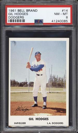 Image of: 1961 Bell Brand Dodgers SETBREAK Gil Hodges #14 PSA 8 NM-MT (PWCC)