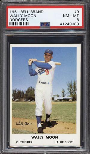 Image of: 1961 Bell Brand Dodgers SETBREAK Wally Moon #9 PSA 8 NM-MT (PWCC)