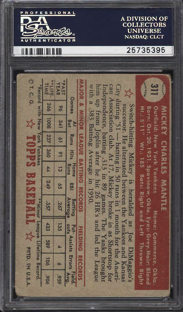 Image 2 of: 1952 Topps Mickey Mantle #311 PSA 1.5 FR (PWCC)