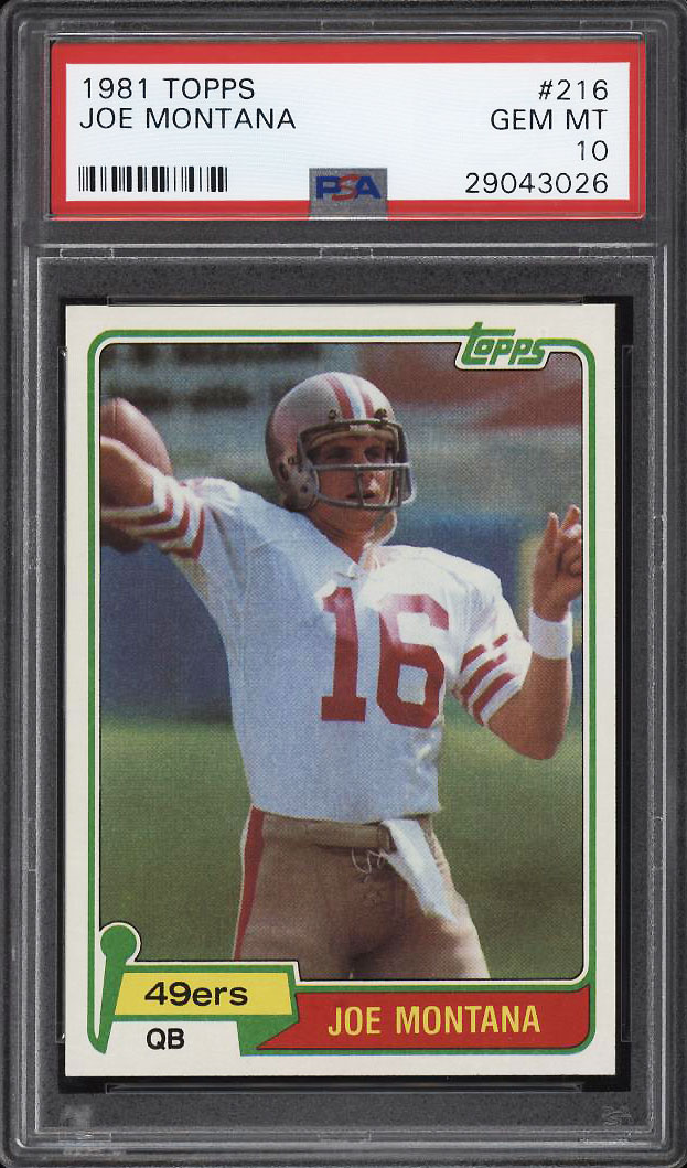 Image 1 of: 1981 Topps Football Joe Montana ROOKIE RC #216 PSA 10 GEM MINT (PWCC)
