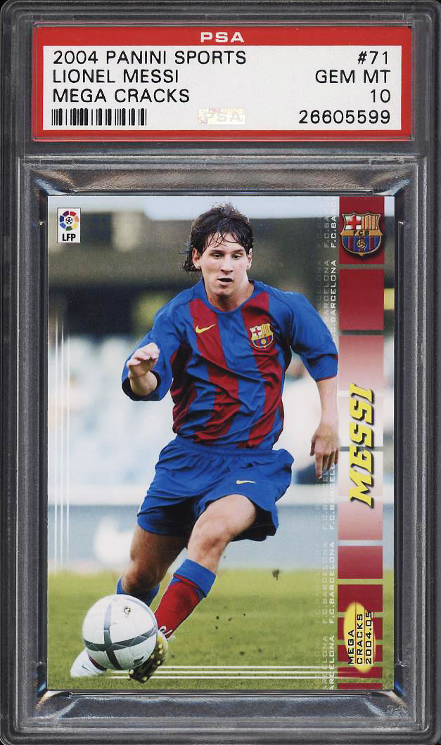 Image 1 of: 2004 Panini Megacracks Soccer Lionel Messi ROOKIE RC #71 PSA 10 GEM MINT (PWCC)
