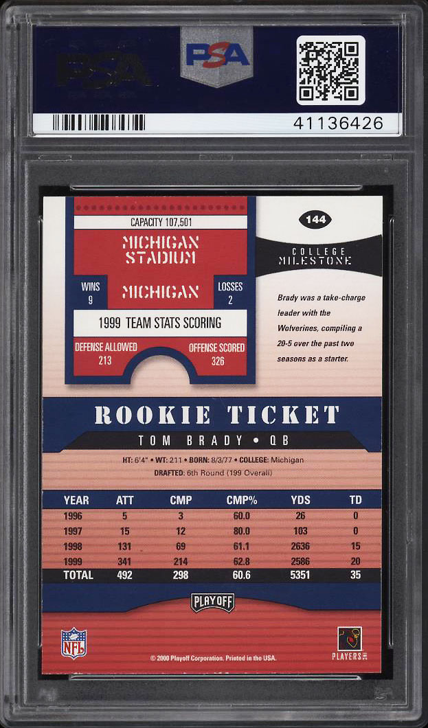 Image 2 of: 2000 Playoff Contenders Tom Brady ROOKIE RC PSA/DNA 10 AUTO #144 PSA Auth (PWCC)