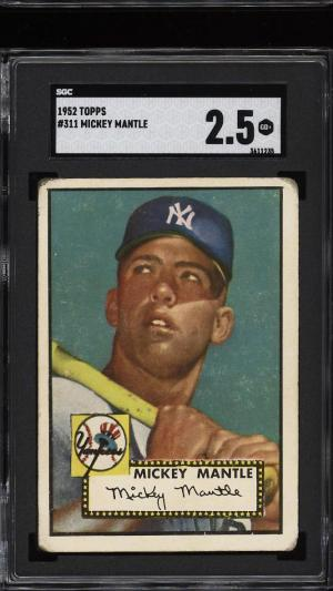Image of: 1952 Topps Mickey Mantle #311 SGC 2.5 GD+ (PWCC)