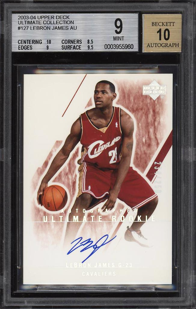 Image 1 of: 2003 Ultimate Collection LeBron James ROOKIE RC AUTO /250 #127 BGS 9 MINT (PWCC)