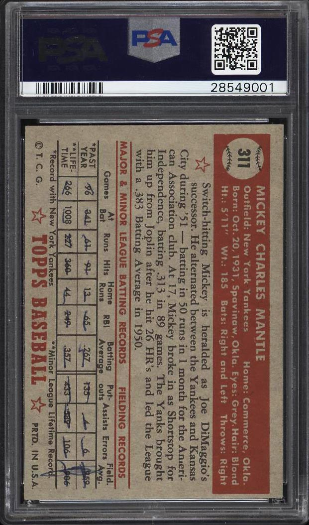 Image 2 of: 1952 Topps Mickey Mantle #311 PSA 6(mk) EXMT (PWCC)