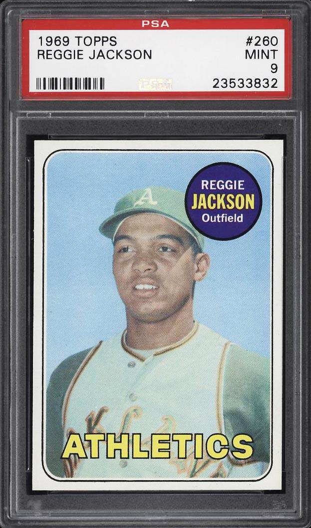 Image 1 of: 1969 Topps Reggie Jackson ROOKIE RC #260 PSA 9 MINT (PWCC)