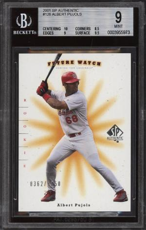 Image of: 2001 SP Authentic Albert Pujols ROOKIE RC /1250 #126 BGS 9 MINT (PWCC)