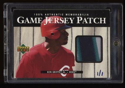 Image of: 2000 Upper Deck Game Jersey Ken Griffey Jr. 3-CLR PATCH 1/1 #P-KG (PWCC)