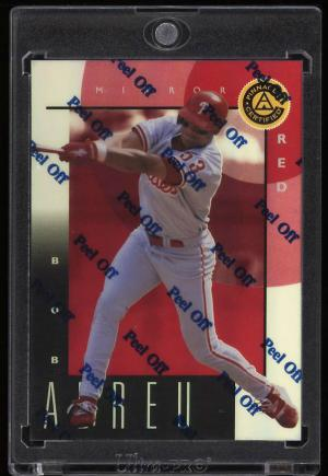 Image of: 1999 Pinnacle Certified Bankruptcy Mirror Red w/ Coating Bobby Abreu #75 (PWCC)
