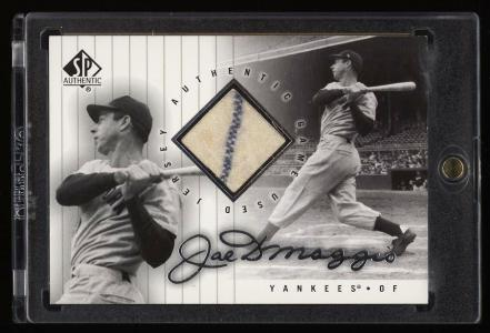 Image of: 2000 SP Authentic Game Used Joe DiMaggio PIN-STRIPE JERSEY #SPJ-JD (PWCC)