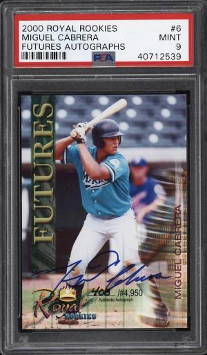 Image of: 2000 Royal Rookies Futures Miguel Cabrera ROOKIE RC AUTO /4950 #6 PSA 9 (PWCC)
