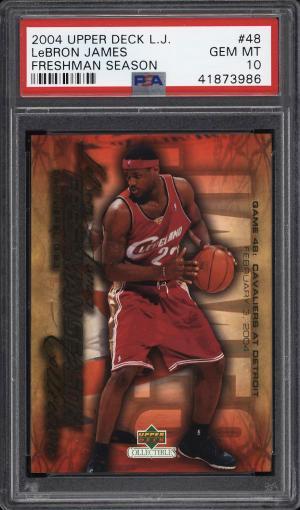 Image of: 2004 Upper Deck LJ Freshman Season LeBron James #48 PSA 10 GEM MINT (PWCC)