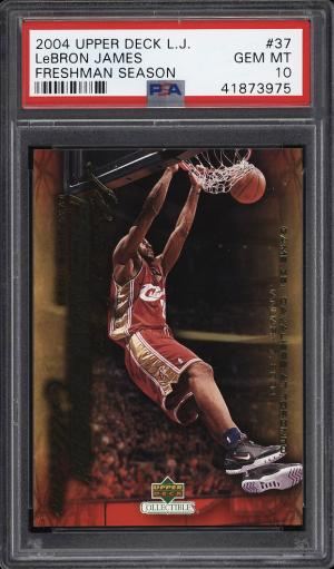 Image of: 2004 Upper Deck LJ Freshman Season LeBron James #37 PSA 10 GEM MINT (PWCC)