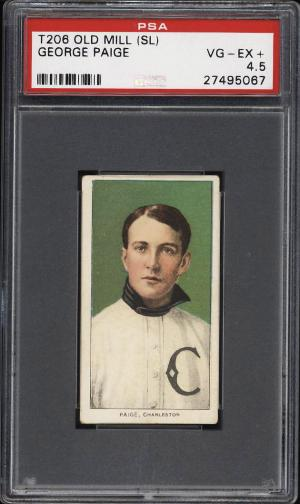 Image of: 1909-11 T206 George Paige SOUTHERN LEAGUER, OLD MILL PSA 4.5 VGEX+ (PWCC)