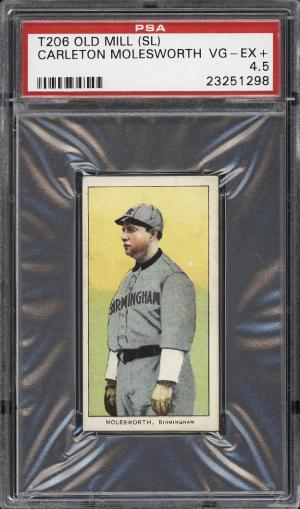 Image of: 1909-11 T206 Carlton Molesworth SOUTHERN LEAGUER, OLD MILL PSA 4.5 VGEX+ (PWCC)