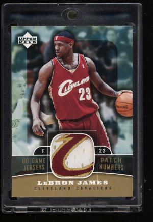 Image of: 2004 Upper Deck Game Jersey Names LeBron James 3-CLR PATCH #PNU-LJ (PWCC)