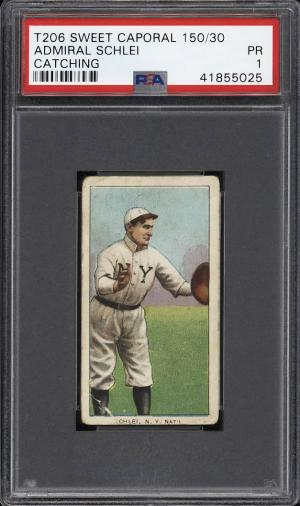 Image of: 1909-11 T206 Admiral Schlei CATCHING PSA 1 PR (PWCC)