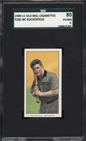 Image of: 1909-11 T206 Ike Rockenfeld SOUTHERN LEAGUER, OLD MILL SGC 6 EXMT (PWCC)