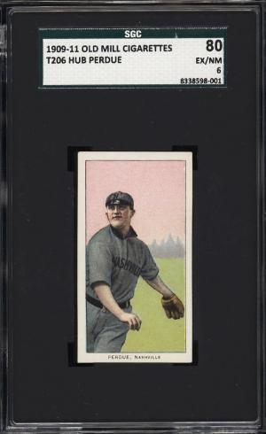 Image of: 1909-11 T206 Hub Perdue SOUTHERN LEAGUER, OLD MILL SGC 6 EXMT (PWCC)