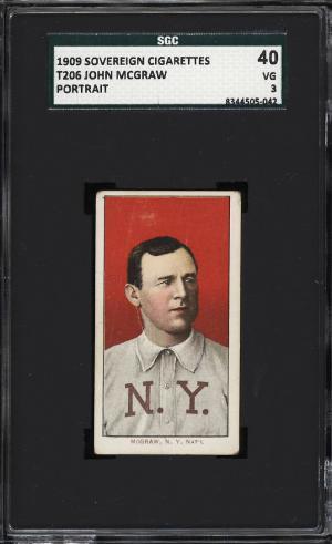 Image of: 1909-11 T206 John McGraw PORTRAIT NO CAP, SOVEREIGN SGC 3 VG (PWCC)
