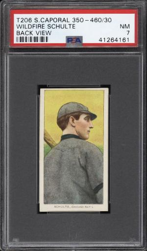 Image of: 1909-11 T206 Wildfire Schulte BACK VIEW PSA 7 NRMT (PWCC)