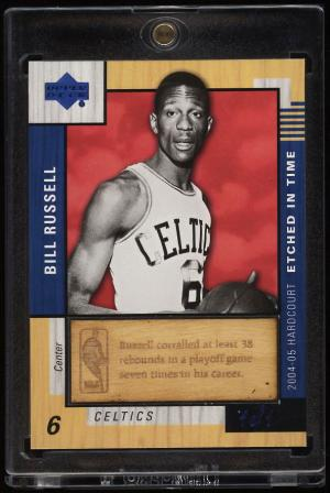 Image of: 2004 UD Hardcourt Etched In Time Bill Russell PATCH 1/1 #ET-BR (PWCC)